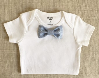 Soft Gray Blue and White Hearts Baby Bow Tie BodySuit w/ Snap-On Bowtie: 1 Bodysuit  (Short or Long) +1 Bowtie ONLY! Newborn to 24 Months.