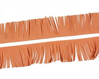 1 m 57mm pumpkin Orange suede fringe trim
