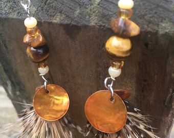 Tiger's Eye Gem Stone Feather Earrings