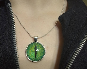 dragon eye necklace,dragon,hand made necklace,painted dragon eye,glass dragon eye