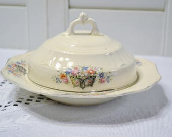 Vintage Covered Butter Dish Edwin Knowles Floral Design Planter Vintage China Dish Chippy PanchosPorch