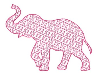 Elephant Embroidery Design File -motif fill withbean stitch edge- multiple formats - one or two color design -4 sizes - instant download