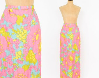 70s Pink Maxi Skirt | Psychedelic Maxi Skirt | Quilted Maxi Skirt