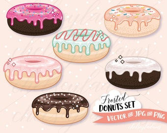 Donuts Clipart Set, Vector Clip Art, Kawaii, Colorful Doughnuts, Sprinkles, Cute Commercial Use Planner Sticker Graphics, Treats, Sweets