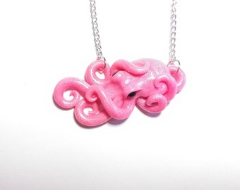 hot pink glitter octopus necklace, hot pink octopus, octopus jewelry, octopus necklace, octopus lovers, cephalopod necklace