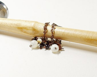 Mother of Pearl Chain Drop Earrings with Black Agate Clusters, Handmade Copper Chain on Sterling Silver Ear Wires