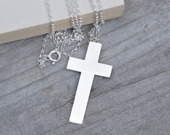 Personalized Cross Necklace In Sterling Silver, Handmade In England