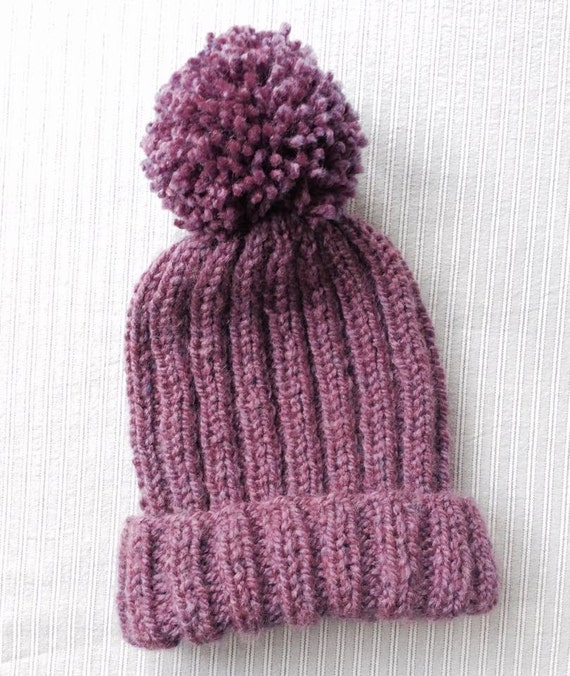 Knitted Ribbed Bobble Hat Pattern pom pom hat knitting