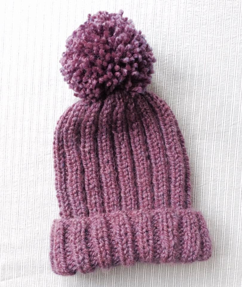 Knitted Ribbed Bobble Hat Pattern, pom pom hat knitting pattern ...