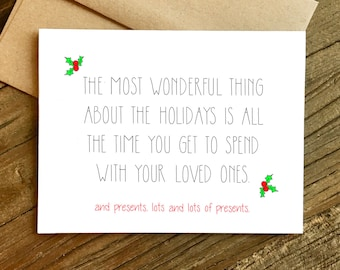 Funny Christmas Card - Funny Holiday Card - Holiday Card - Christmas Card - Presents.