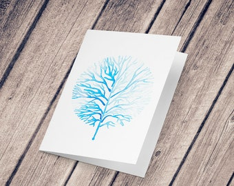Wish card: Illustration reproduction painted with watercolor, Frosted Tree
