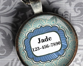 Pet iD Tag blue and light blue colorful round Dog Tag 35mm round -  by California Mutts