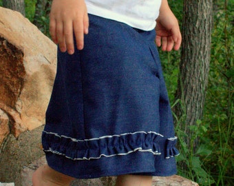 Girl's Culotte - Heavy Denim - Jean Culotte - Ruffle Split Skirt - Horse Riding - Modest Clothing - Pleated Shorts - Play Day - Cute Kids