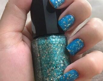 Blue & Silver Glitter Nail Polish ~ Ocean Vibes