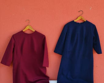 Twin Sisters - Two Handmade VNTG 60s Dresses, Royal Blue and Wine Red Dresses