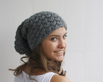 Hand Knitted Gray Effect Wool Hat Beanie Christmas Gift For Her