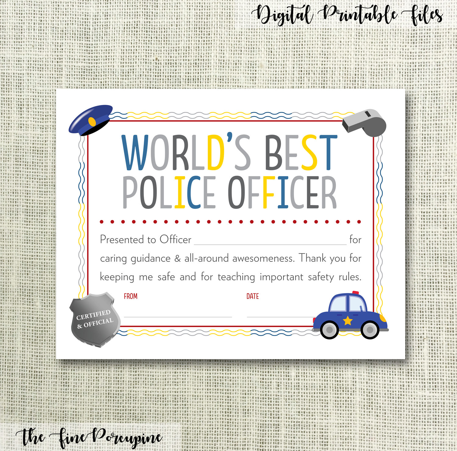 Police officer certificate printable worlds best police zoom 1betcityfo Image collections