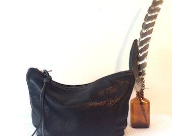 leather cosmetics clutch - small black clutch - travel pouch- Sale