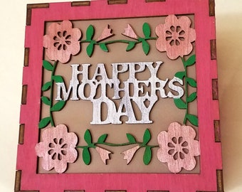 Gift For Mom Mother's Day Gift Light Box Cube LED Night Light 4x4x4 inches Personalized Birch Wood Light Laser Cut Hand Made Lamp Custom