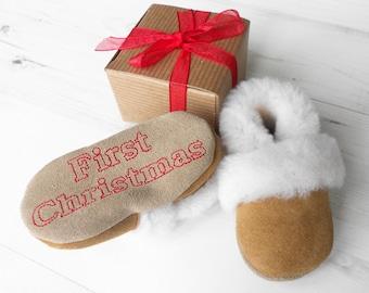 Sheepskin Baby Slippers or Booties, Personalised