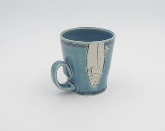 Blue Fish Mug - ceramic porcelain clay coffee cup with salmon and DNA decal - wheel thrown handmade pottery