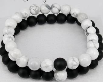 Couples Bracelet, Matching Bracelet, Howlite Bracelet, Onyx Bracelet, Friendship Bracelet, Relationship Bracelet, Bracelet Set, Couples Gift