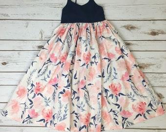 Maxi Dress, Floral Dress, Boho Dress, Toddler Dress, Maxi Floral Dress, Watercolor Floral Maxi Dress, Girls' Maxi Dress, Girls' Floral Maxi