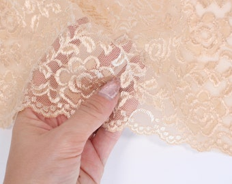 "1 m (1.09 yd) of Stretch lace - Shiny Beige - 23 cm (9"") Wide"