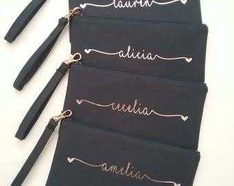 Set of 4 Personalized Wristlet Clutches - Personalized Bridesmaid Clutch - Hearts Wristlet Clutch - Personalized Canvas Bag - Name Clutch