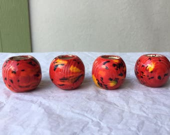 1970's vintage medium round red with yellow and black drip spots ceramic set of 4 macrame beads