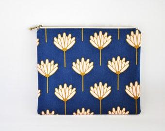 Zipper Clutch, Clutch Purse, Clutch Bag, Clutch Wallet, Fabric Clutch, Zipper Bag, Zipper Pouch, Makeup Bag - Navy & Pink Floral