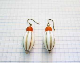 Vintage Beads Mod Gold Orange Mid Century Brass Earrings Jewelry