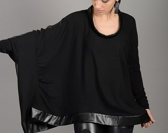 Plus Size Top, Black Tunic, Womens Black Top, Oversized Top, Extravagant Top, Long Sleeve Top, Elegant Top, Gothic Clothing, Fashion Top