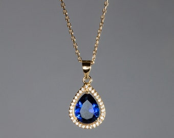 Old Fashion Vintage Necklace Blue Stone Pendant Gold Necklace Cubic Zirconia Gift For Her US Free Shipping Romantic Gold Jewelry.