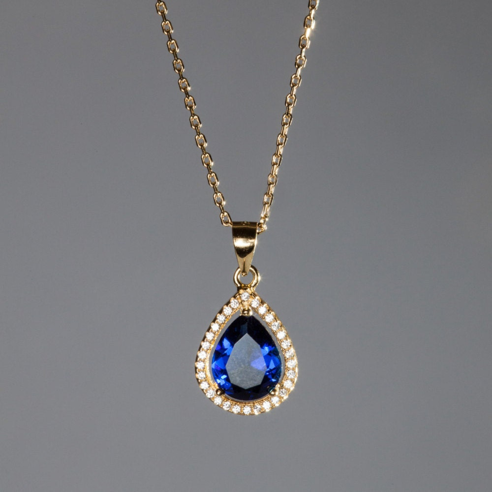 Old fashion vintage necklace blue stone pendant gold necklace zoom aloadofball Image collections