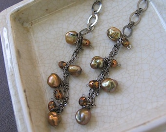 Dangling Brown Keishi Pearl Earrings by Denise Sloan