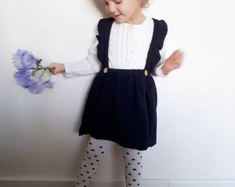 Girls pinafore dress, toddler pinafore dress, navy pinafore, vintage girls clothing, navy party skirt, girls photo prop, dungaree dress