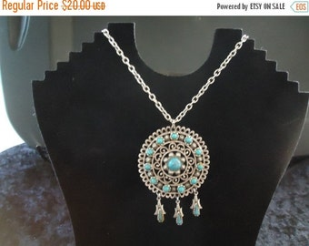 Now On Sale Vintage Silver & Blue Pendant Necklace Retro Collectible Costume Jewelry