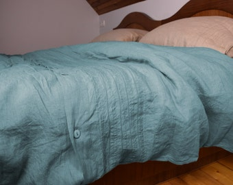 100% linen hemstitched duvet cover. DUCK EGG bedding collection. Greenish-bluish. Single, twin, queen, king or custom size. Stone washed.