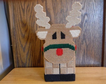 Tissue Box Cover Plastic Canvas Reindeer, needlepoint, Christmas gift,  box cover, Christmas tissue, tissue box, rudolph decor, Easter Gift