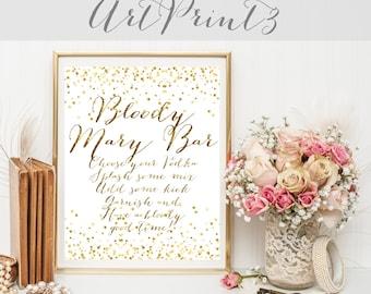 Bloody Mary Bar Sign Printable, Wedding Sign Printable, Gold Confetti Wedding Sign Printable, Bloody Mary Wedding Printable Table Decor