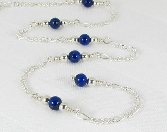 Lapis Lazuli Sterling Silver Adjustable Chain Anklet