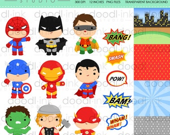 SALE 50%!!! Cute Superheroes Digital Clipart / Cartoon Heroes Clip Art / Digital Paper For Personal Use / INSTANT DOWNLOAD
