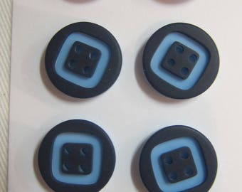 2 buttons 4 hole two-tone blue 15 mm
