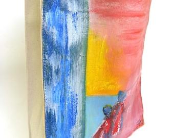 original hand painted canvas bag   ...    handmade canvas tote bag   ...   hand made bag