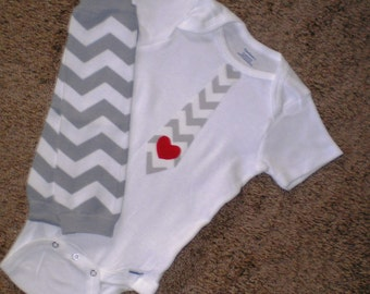 Chevron Bodysuit and Leg Warmers, Toddler Clothing, Onesie, Photo Prop, Size 18 Months