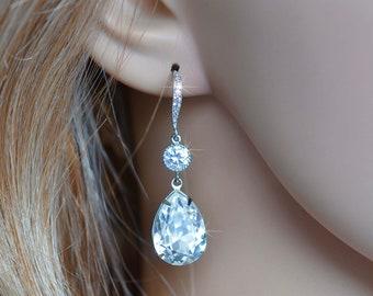 Rhodium, Yellow or Rose Gold Handmade Swarovski Clear Teardrop Dangle Bridal Earrings, Bridal, Wedding (Sparkle-2535)