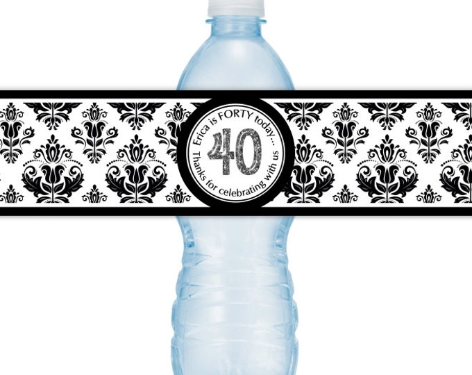40th Birthday Printable Water Bottle Labels, CUSTOM 40th Birthday, Damask Design, you print, you cut, DIY water bottle labels
