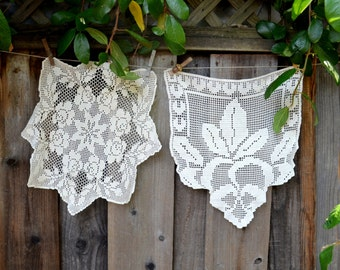 Set of Two Vintage Doilies, Hand Made Crocheted Doilies, Boho Chic, circa 1950s-1960s