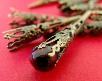 Wholesale 100pcs 42mm Antique Bronze Filigree Cone Bead Caps A033